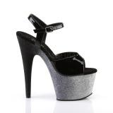 Grijs 18 cm ADORE-709OMBRE glitter plateau sandalen met hak