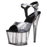 Grijs 18 cm ADORE-710GT glitter plateau schoenen dames met hak