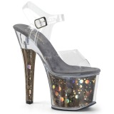 Grijs 18 cm RADIANT-708BHG Hologram plateau schoenen dames met hak
