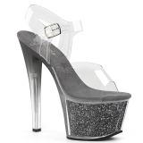 Grijs 18 cm SKY-308G-T glitter plateau sandalen met hak