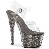 Grijs 18 cm SKY-308LG glitter plateau schoenen dames met hak