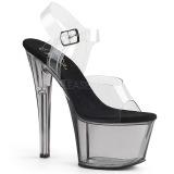 Grijs 18 cm SKY-308T Acryl plateau schoenen dames met hak