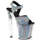 Grijs 20 cm XTREME-808N-CRHM Hologram plateau schoenen dames met hak