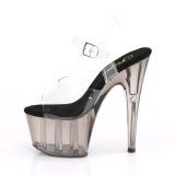 Grijs plateau 18 cm ADORE-708T transparante hakken - pole dance schoenen