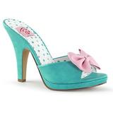Groen 10 cm SIREN-03 Pinup mules schoenen met vlinderdas