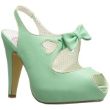Groen 11,5 cm retro vintage BETTIE-03 Pinup pumps schoenen met verborgen plateauzool