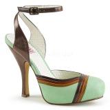 Groen 11,5 cm retro vintage CUTIEPIE-01 Pinup sandalen met verborgen plateauzool