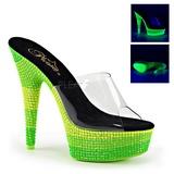 Groen 15 cm DELIGHT-601UVS neon plateau slippers dames met hak