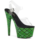 Groen 18 cm ADORE-708MSLG glitter plateau sandalen met hak