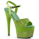 Groen 18 cm ADORE-709-2G glitter plateau sandalen met hak