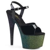 Groen 18 cm ADORE-709OMBRE glitter plateau sandalen met hak