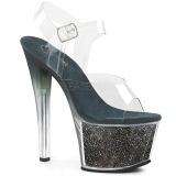 Groen 18 cm SKY-308G-T glitter plateau sandalen met hak