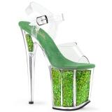 Groen 20 cm FLAMINGO-808GF glitter plateau schoenen dames met hak