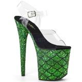 Groen 20 cm FLAMINGO-808MSLG glitter plateau sandalen met hak