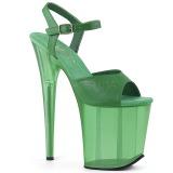 Groen 20 cm FLAMINGO-809T Acryl hoge hakken schoenen pleaser