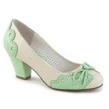 Groen 6,5 cm retro vintage WIGGLE-17 Pinup pumps schoenen met blokhak