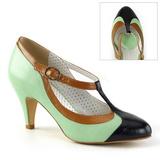 Groen 8 cm PEACH-03 Pinup pumps schoenen met lage hakken
