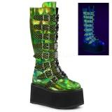 Groen 9 cm DAMNED-318 plateau laarzen dames met gespen