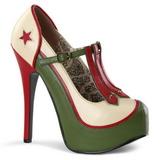 Groen Beige 14,5 cm Burlesque TEEZE-43 damesschoenen met hoge hak