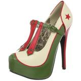 Groen Beige 14,5 cm TEEZE-43 damesschoenen met hoge hak