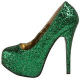 Groen Glitter 14,5 cm Burlesque BORDELLO TEEZE-06G Plateau Pumps Hoge Hak