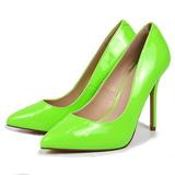 Groen Neon 13 cm AMUSE-20 naaldhak pumps met puntneus