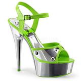 Groen Neon 15 cm DELIGHT-609NC Sandalen met Chroom Plateau