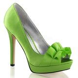 Groen Satijn 12 cm LUMINA-42 Hoge Avond Pumps Schoenen met Hak