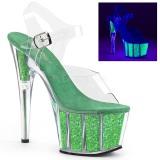 Groen glitter 18 cm Pleaser ADORE-708UVG paaldans schoenen met hoge hakken