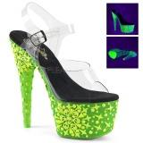 Groen neon 18 cm Pleaser ADORE-708NSK paaldans schoenen met hoge hakken