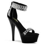 High Heels Glittering Stones 15 cm KISS-269RS Chrome Platform
