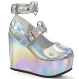 Hologram 12,5 cm POISON-99-2 sleehakken pumps met wedge plateau