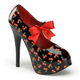 Kers Zwart 14,5 cm Burlesque TEEZE-25-3 damesschoenen met hoge hak