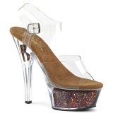 Koperen 15 cm KISS-208GF glitter plateau sandalen met hak