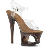 Koperen 18 cm MOON-708GFT glitter plateau sandalen met hak
