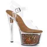Koperen 18 cm SKY-308GF glitter plateau sandalen met hak