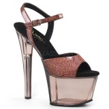 Koperen 18 cm SKY-309GPT glitter plateau sandalen met hak