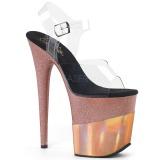 Koperen 20 cm FLAMINGO-808-2HGM glitter plateau sandalen met hak