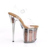 Koperen 20 cm FLAMINGO-808GF glitter plateau schoenen dames met hak