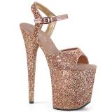 Koperen 20 cm FLAMINGO-810LG glitter hoge hakken schoenen pleaser