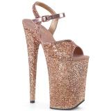 Koperen 23 cm INFINITY-910LG glitter plateau schoenen dames met hak
