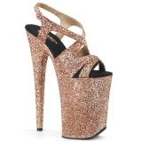 Koperen 23 cm INFINITY-930LG glitter plateau schoenen dames met hak