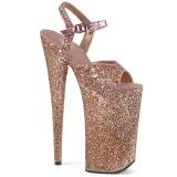 Koperen 25,5 cm BEYOND-010LG glitter hoge hakken schoenen pleaser