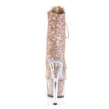 Koperen glitter 18 cm ADORE-1020G dames enkellaarsjes met plateauzool
