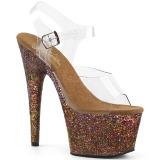 Koperen glitter 18 cm Pleaser ADORE-708LG paaldans schoenen met hoge hakken