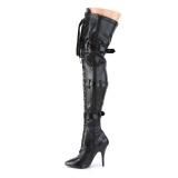 Kunstleer 13 cm SEDUCE-3028 Zwarte overknee laarzen met veters