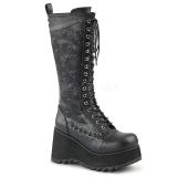 Kunstleer 9 cm SCENE-107 Zwarte punk laarzen met veters