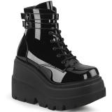 Lakleer 11,5 cm SHAKER-52 demonia sleehakken boots met plateau zwart