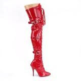 Lakleer 13 cm SEDUCE-3028 Rode overknee laarzen met veters