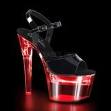 Lakleer 18 cm FLASHDANCE-709 LED gloeilamp stripper sandalen paaldans schoenen